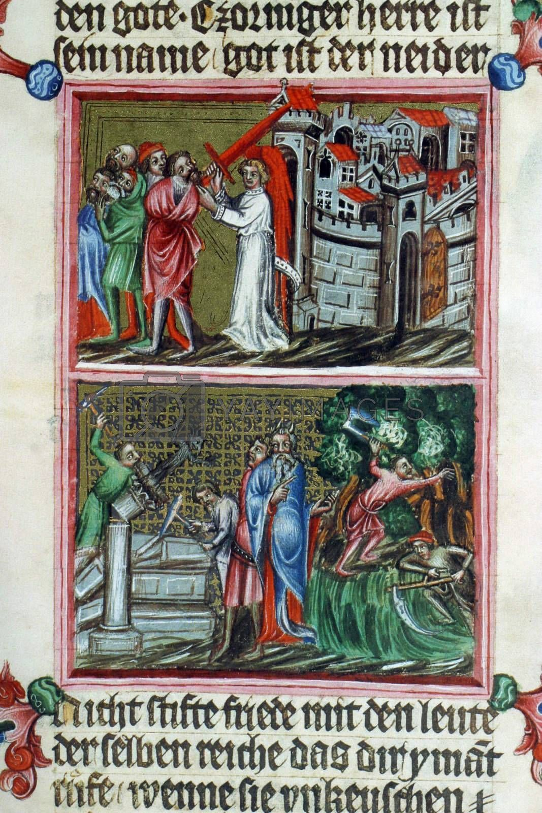 Illustration in an old bible book