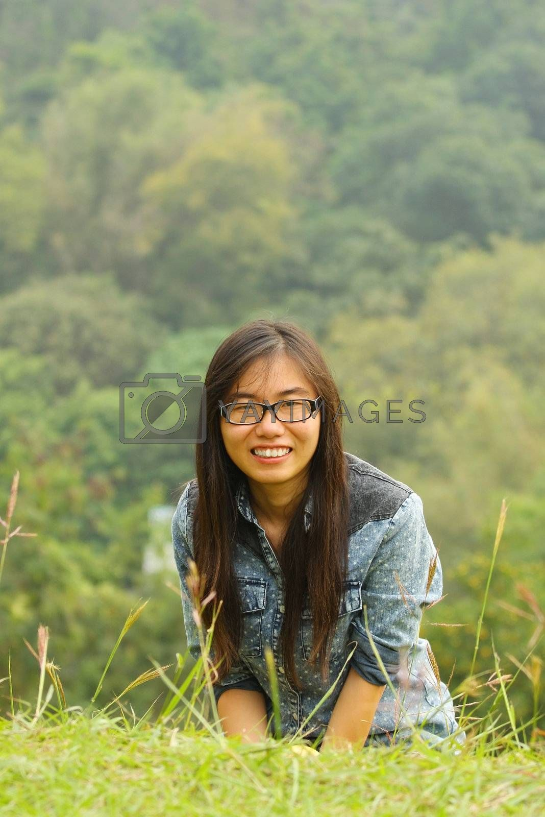 Asian girl in countryside by kawing921