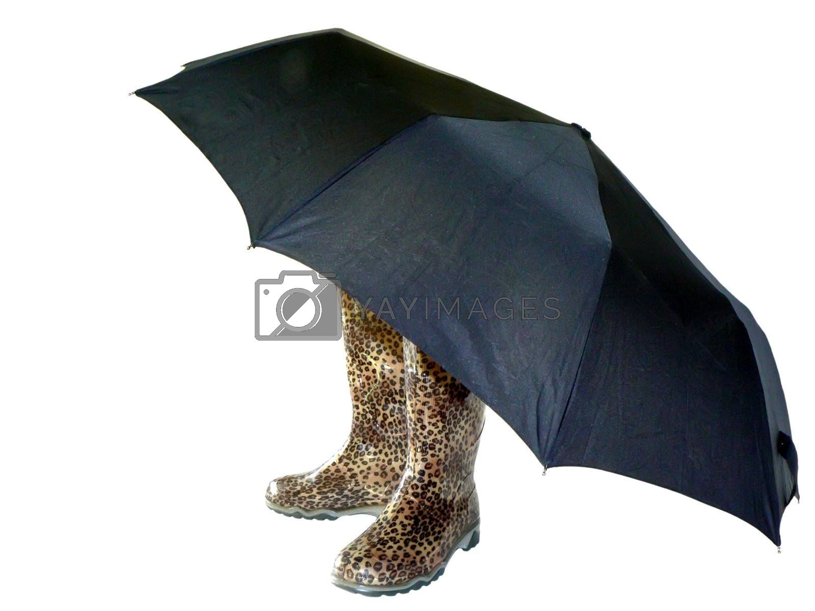 boots and umbrella isolated on white bacground