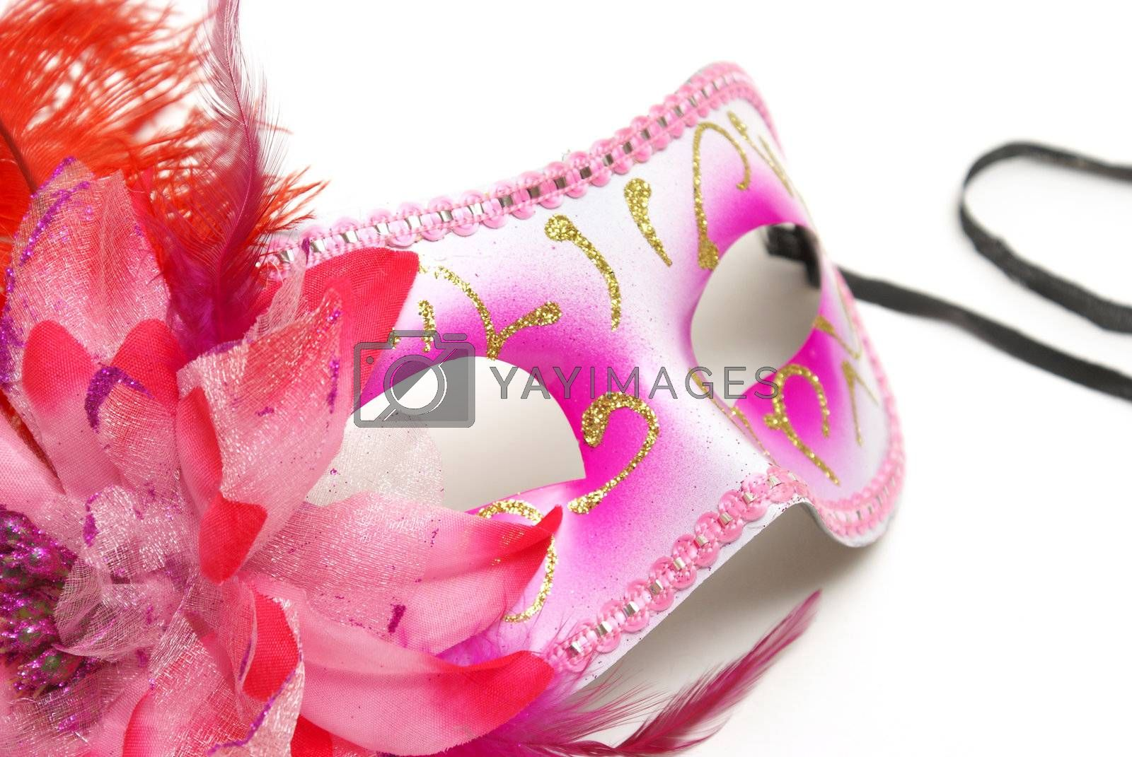 A feminine venetian mask on a white background for concealing your identity at festivities.
