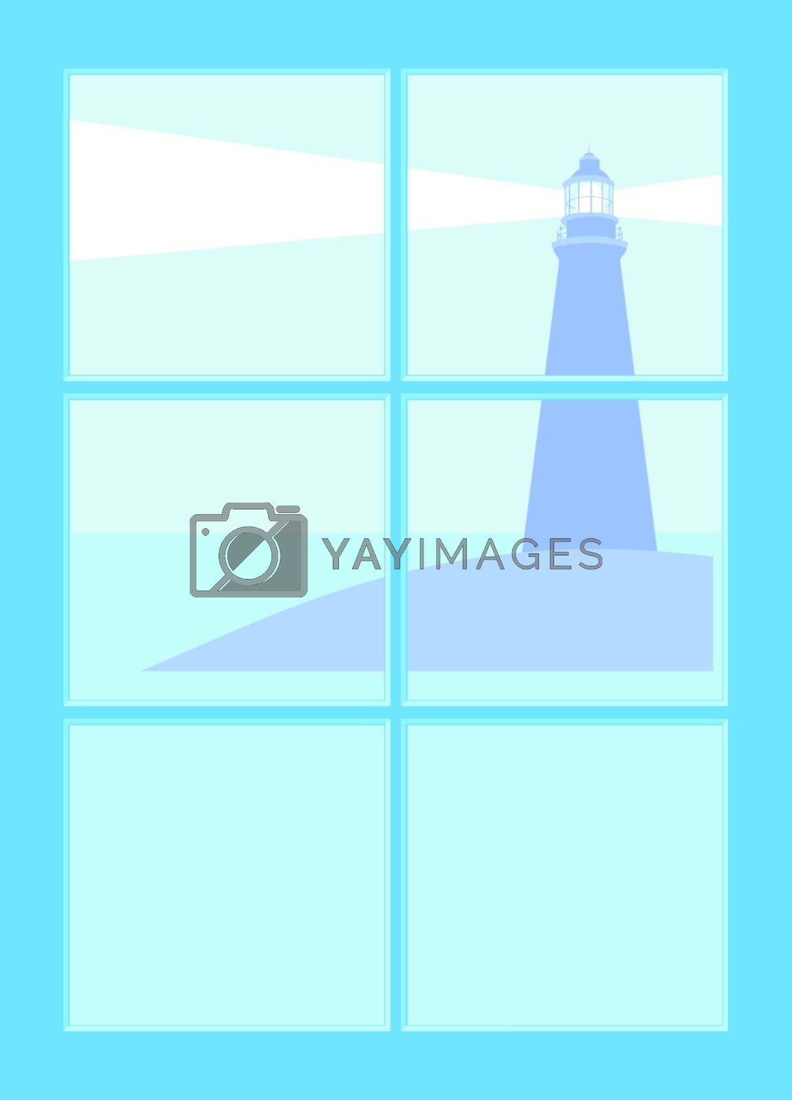 Lighthouse seen through a window