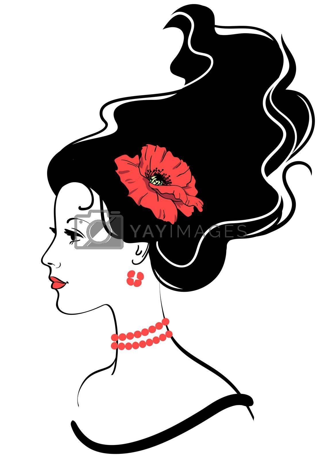 beauty girl face silhouette with red poppy in hairstyle