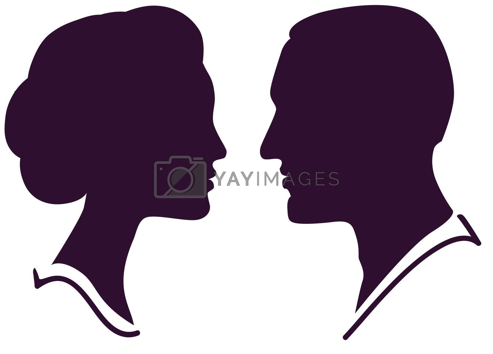 man and woman face profile, vector male female couple