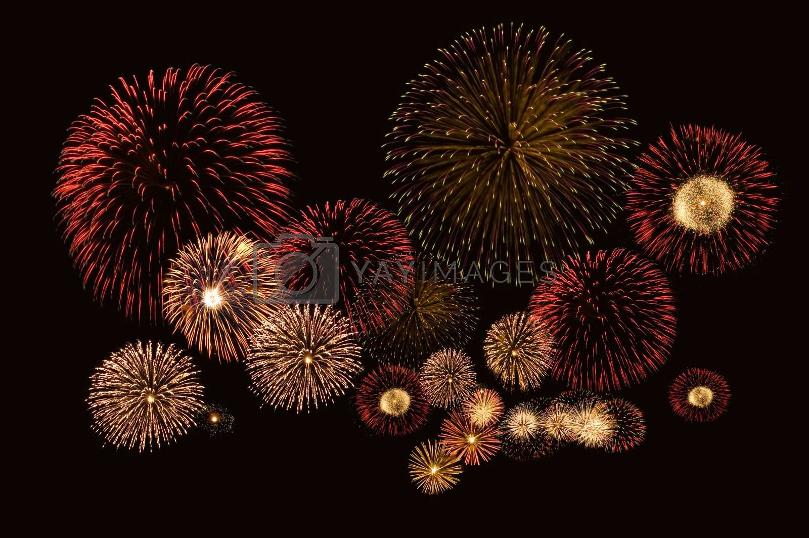 Beautiful fireworks on black background