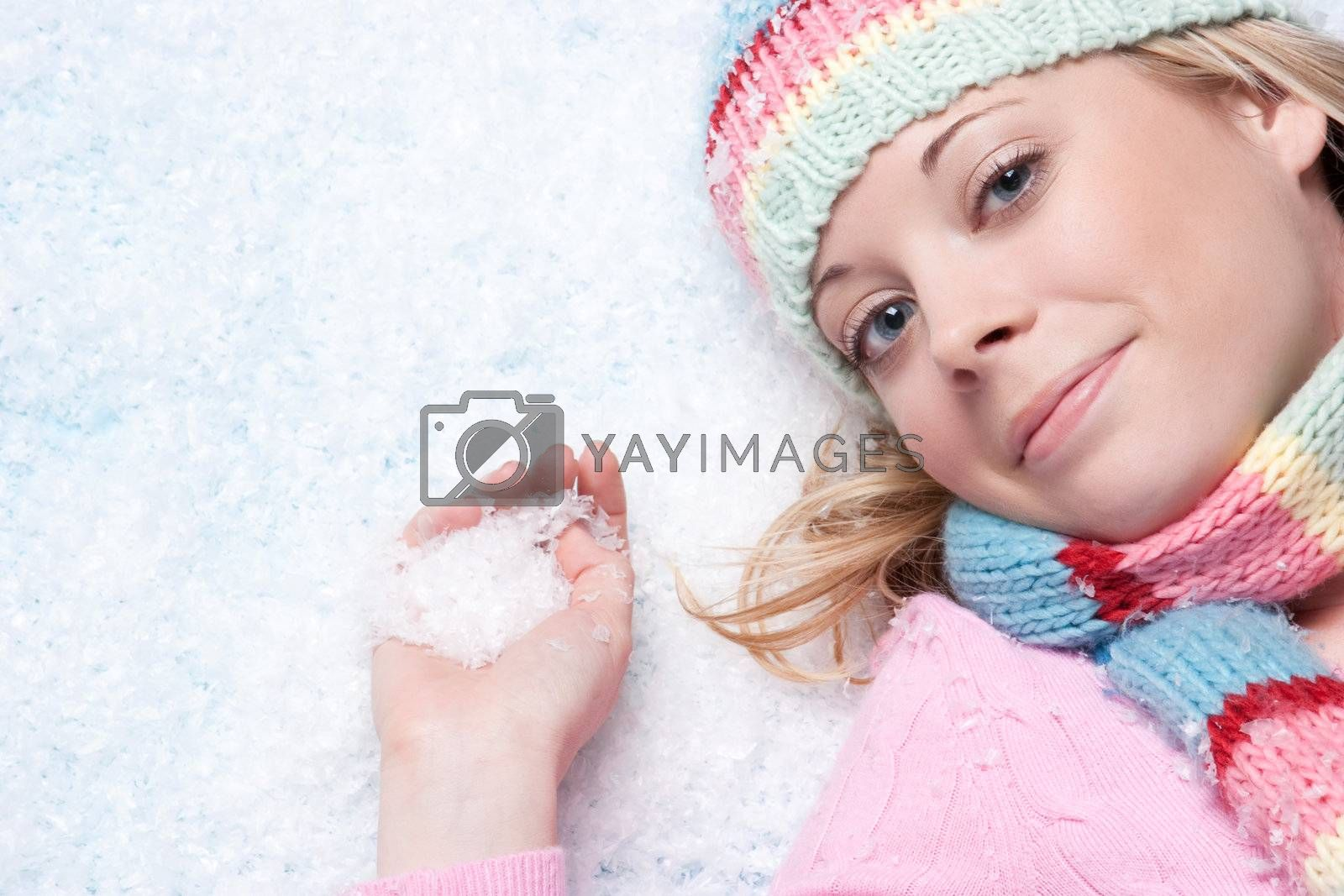 Beautiful winter snow woman playing