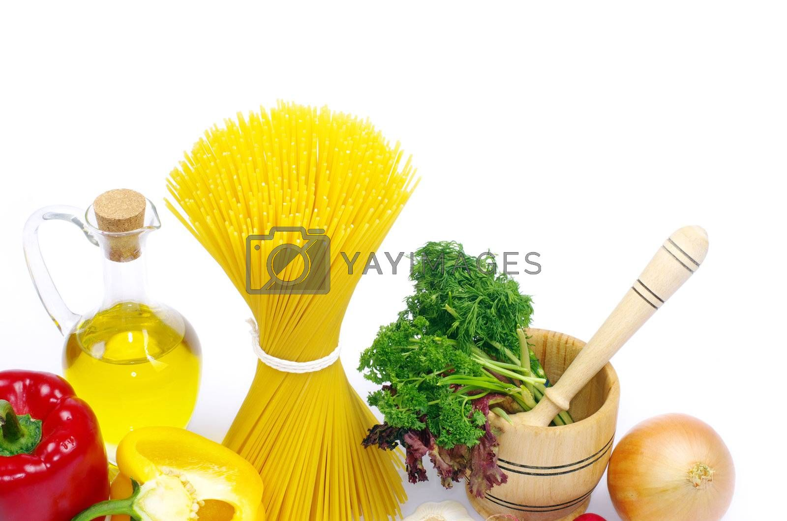 food ingredients isolated on white background