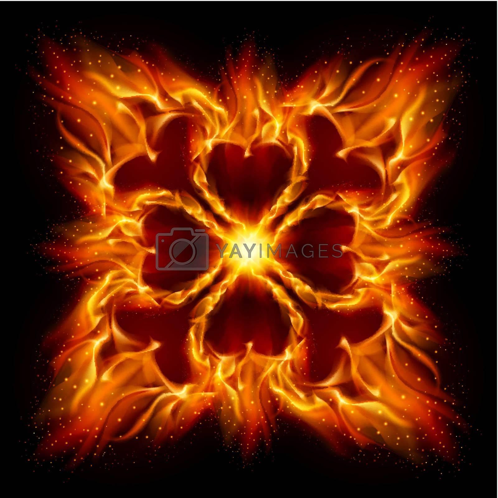 Burning fire crossСЋ Illustration on black background for design