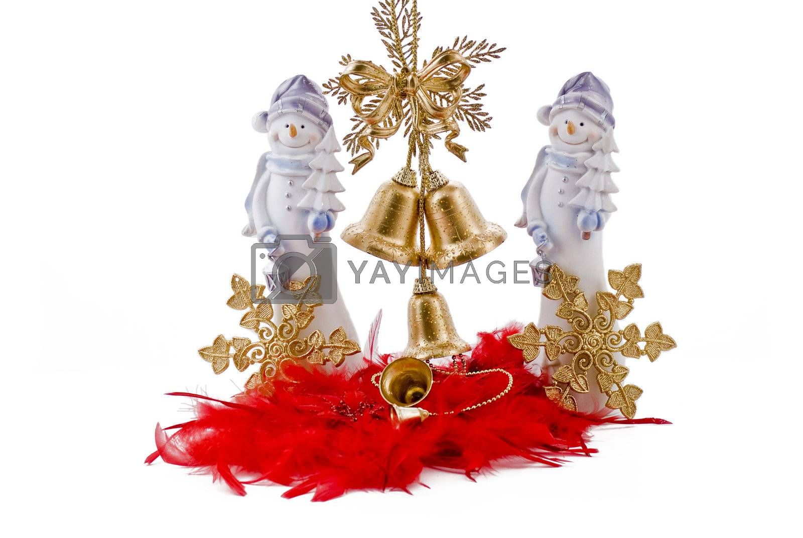 Christmas snowmans with golden bells and golden stars on the red feathers