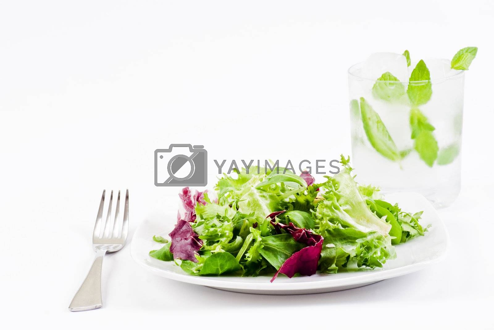 Crispy salad and ice cold drink by caldix
