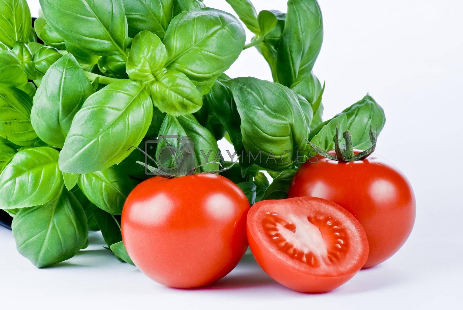 Fresh basil and tomatoes by caldix