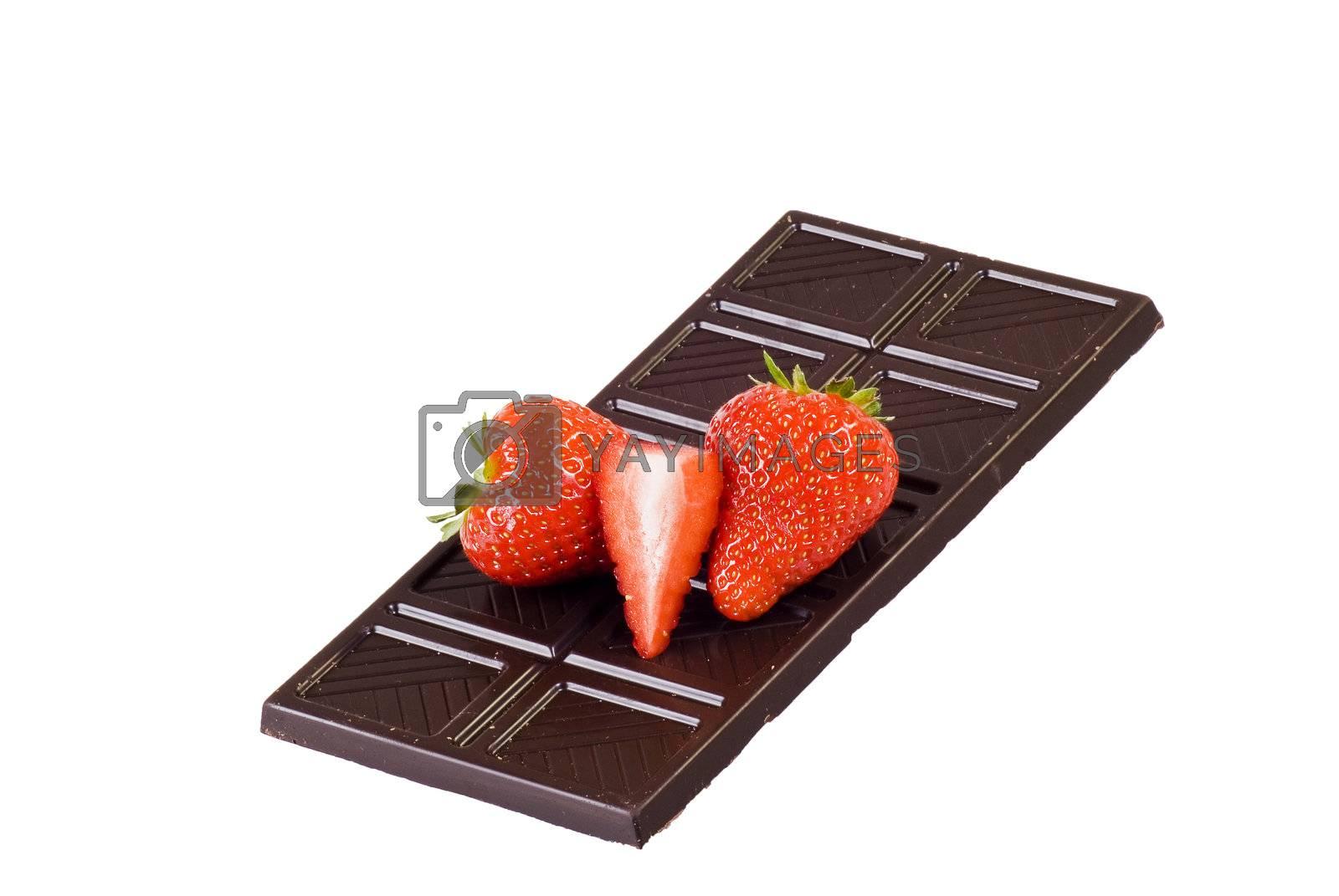 Dark chocolate and strawberries by caldix