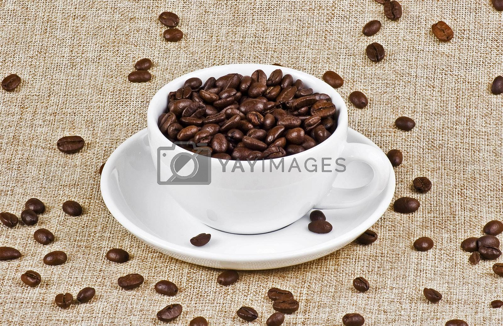 Cup of coffe beans by caldix