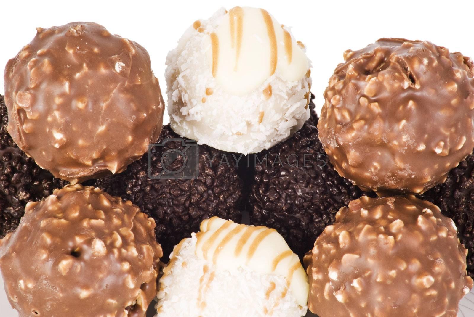 Various types ball chocolate by caldix