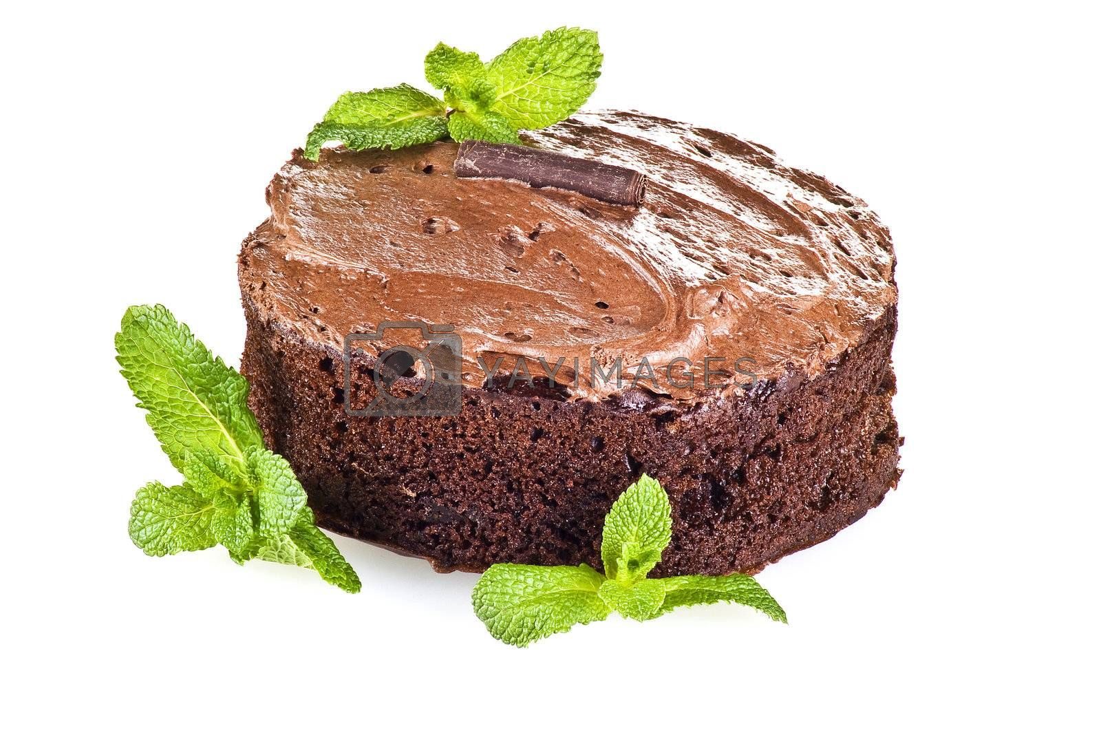 Chocolate cake and mint by caldix
