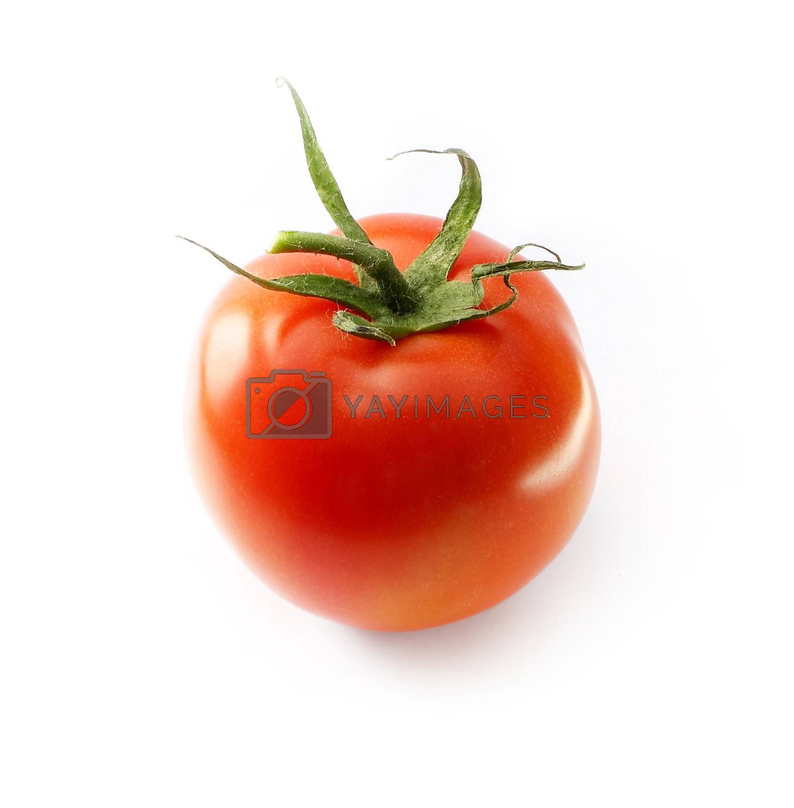 fresh tomato with green leaves on white