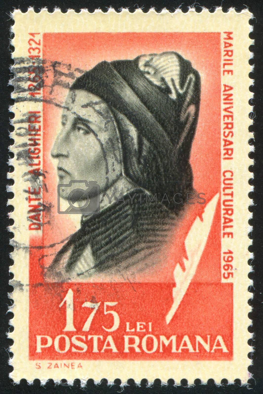ROMANIA - CIRCA 1965: stamp printed by Romania, show Dante Alighieri, circa 1965.
