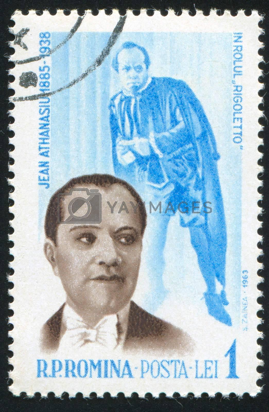 ROMANIA - CIRCA 1963: stamp printed by Romania, show Jean Athanasiu as Rigoletto, circa 1963.