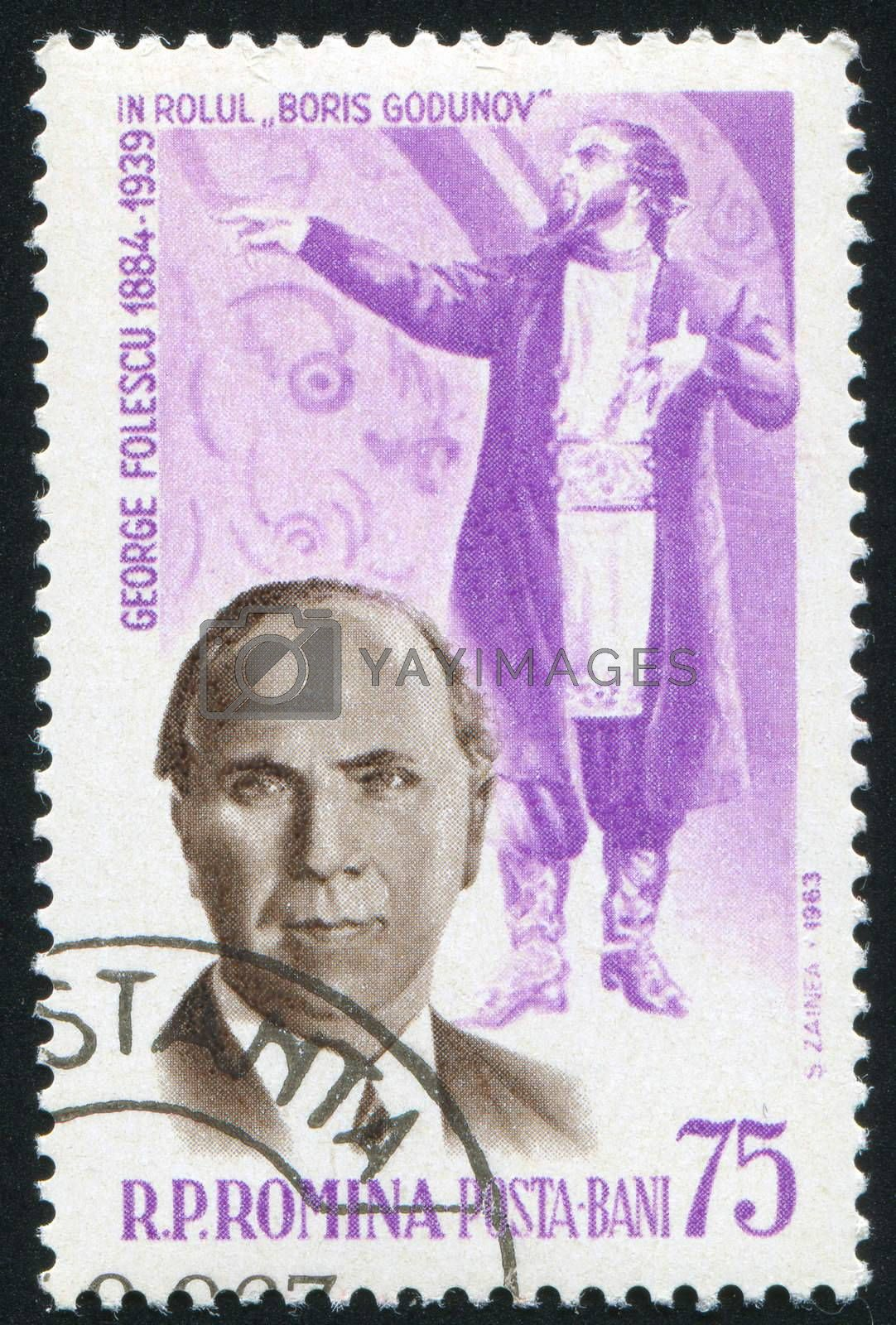 ROMANIA - CIRCA 1963: stamp printed by Romania, show George Folescu as Boris Godunov, circa 1963.