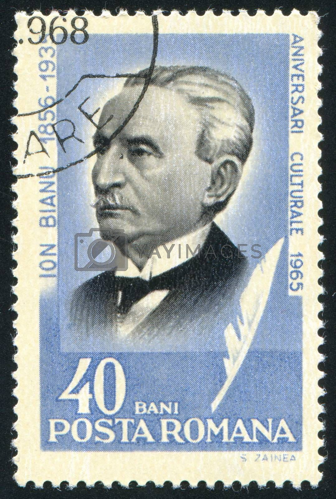 ROMANIA - CIRCA 1965: stamp printed by Romania, show Ion Bianu, philologist and historian, circa 1965.