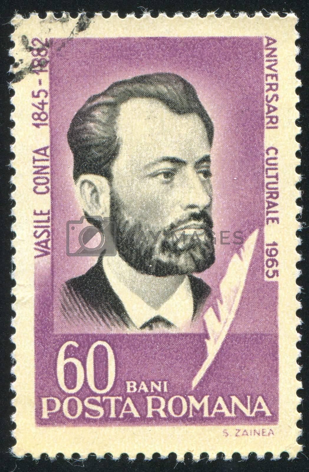 ROMANIA - CIRCA 1965: stamp printed by Romania, show Vasile Conta, philosopher, circa 1965.