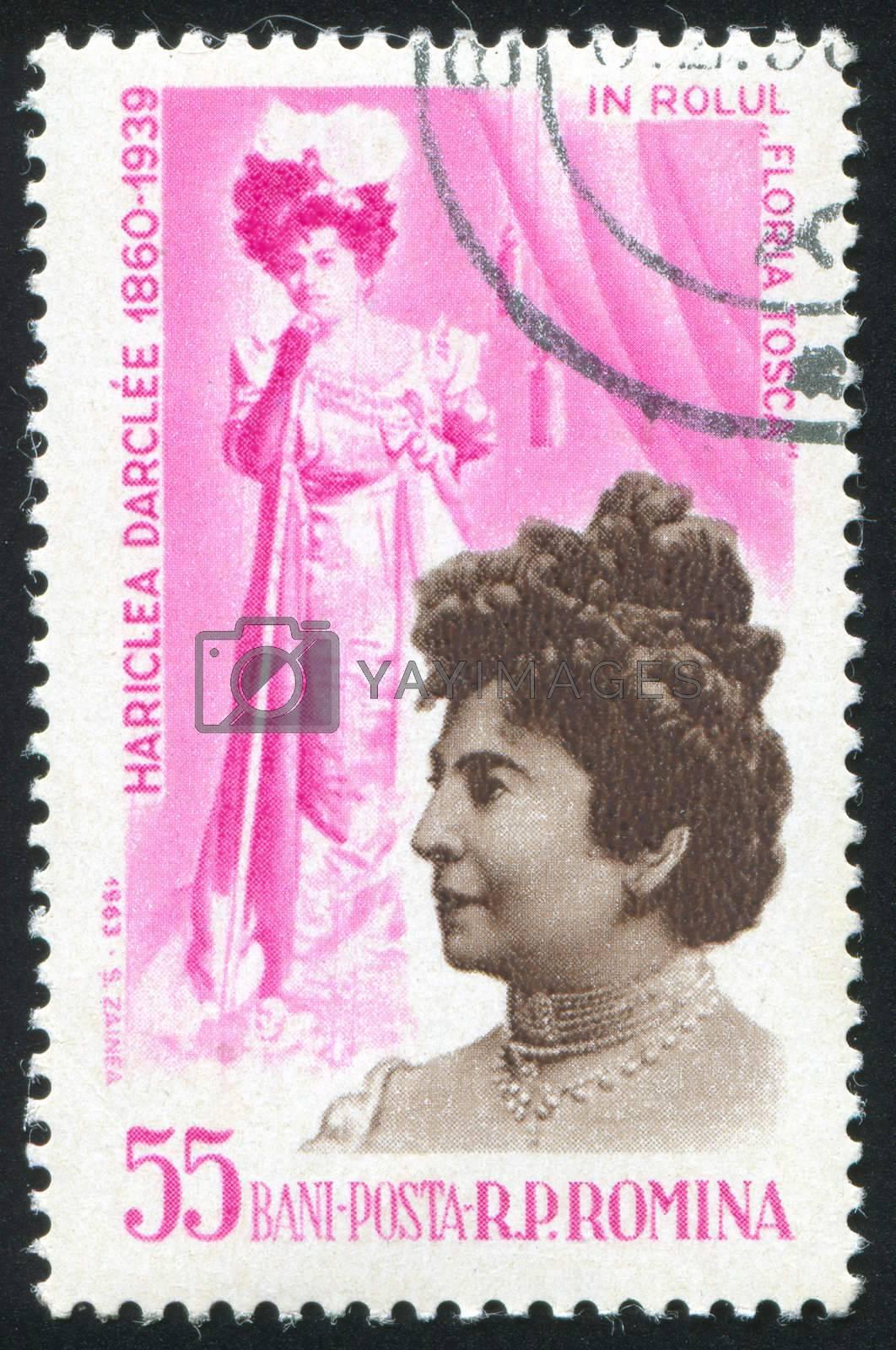 ROMANIA - CIRCA 1963: stamp printed by Romania, show Hariclea Darclee as Tosca, circa 1963.