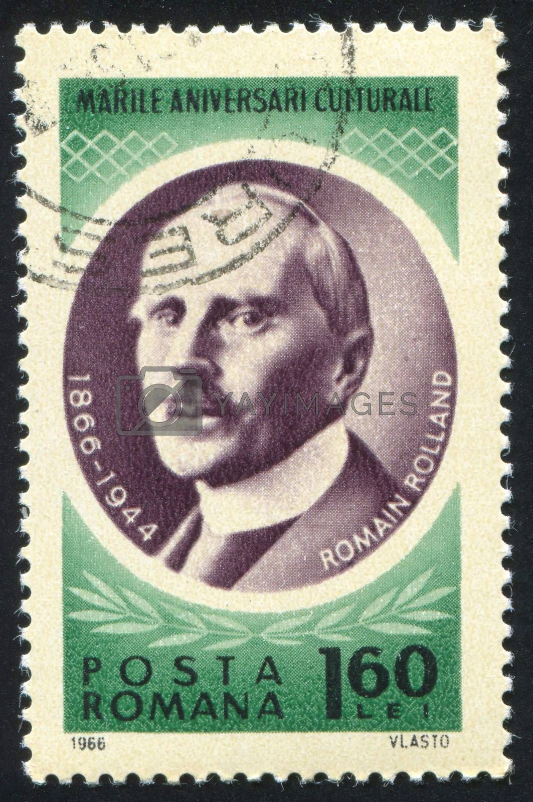 ROMANIA - CIRCA 1966: stamp printed by Romania, show Romain Rolland, circa 1966.