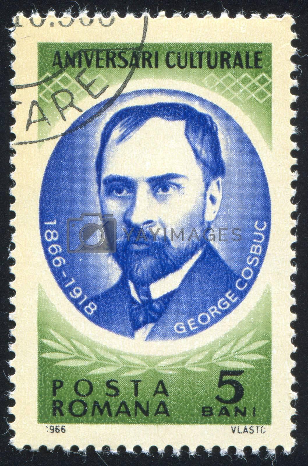 ROMANIA - CIRCA 1966: stamp printed by Romania, show George Cosbuc, circa 1966.