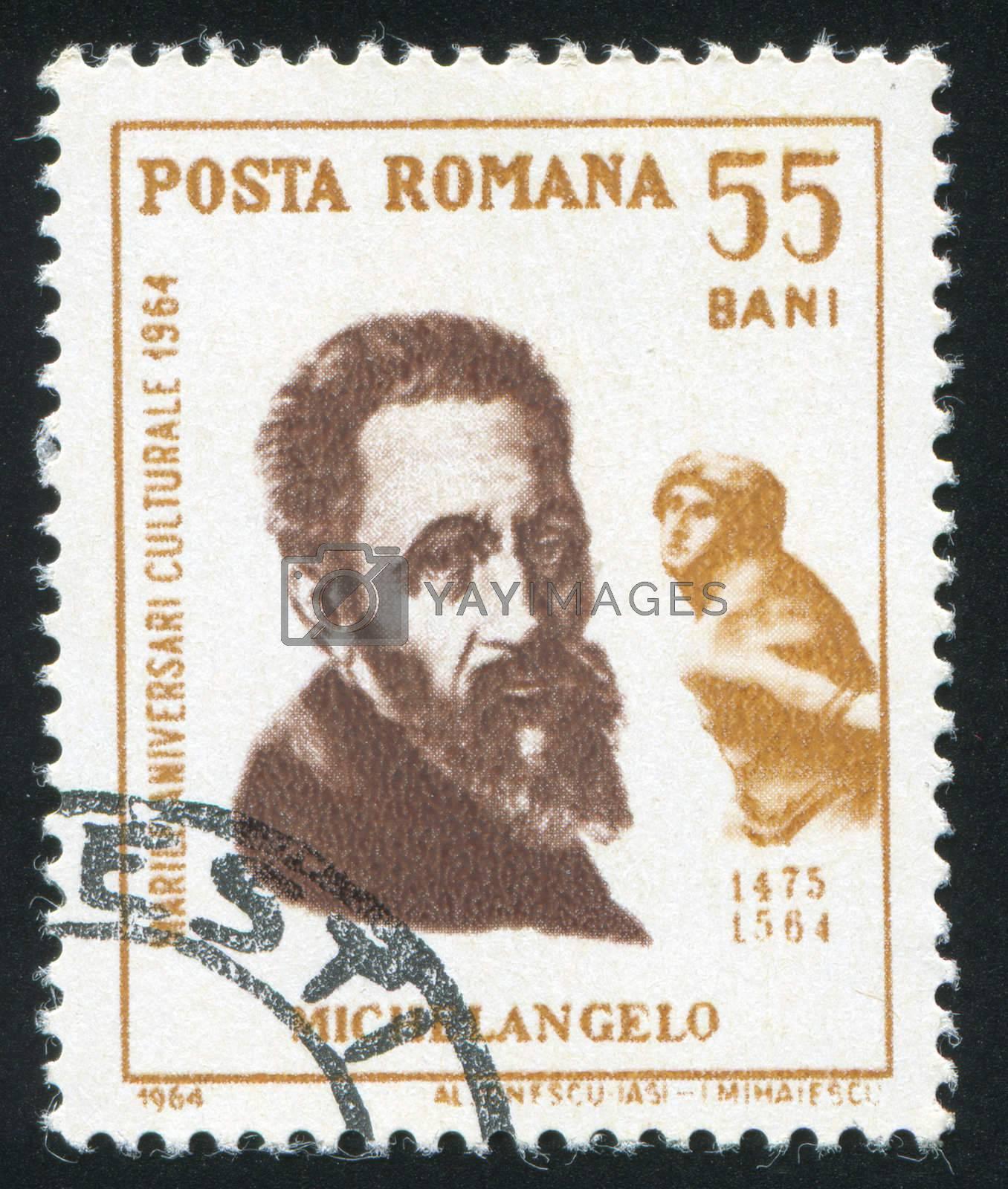 ROMANIA - CIRCA 1964: stamp printed by Romania, show Michelangelo, circa 1964.