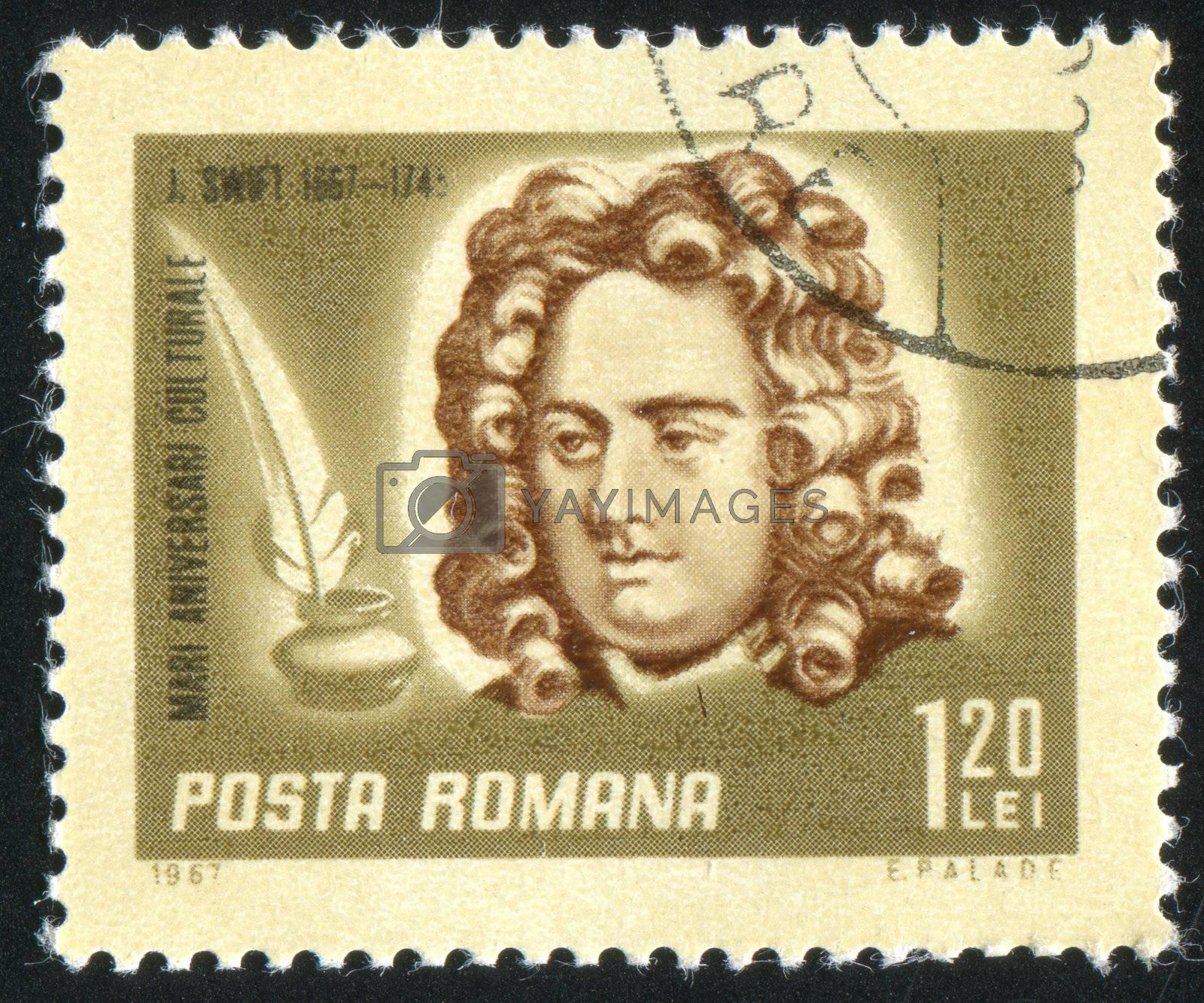 ROMANIA - CIRCA 1967: stamp printed by Romania, show Jonathan Swift, writer, circa 1967.