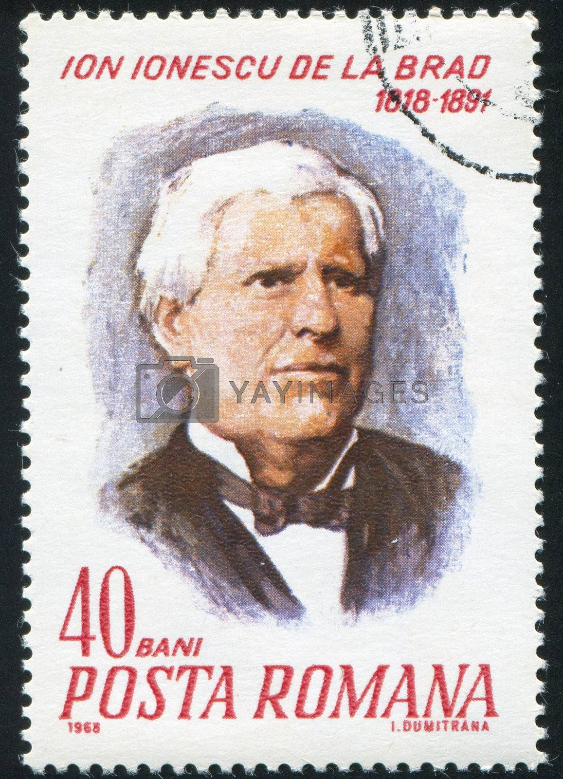 ROMANIA - CIRCA 1968: stamp printed by Romania, show  Ion Ionescu, circa 1968.