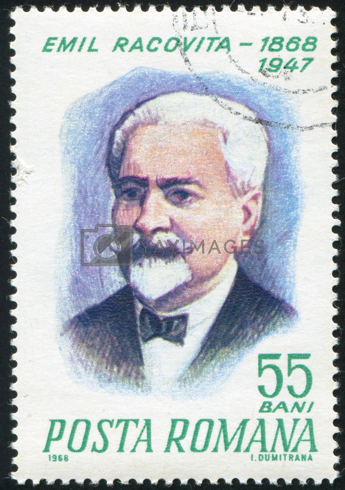 ROMANIA - CIRCA 1968: stamp printed by Romania, show  Emil Racovita, circa 1968.