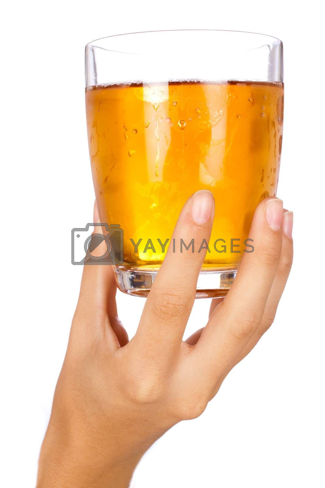 Holding a glass of champagne isolated over white background.