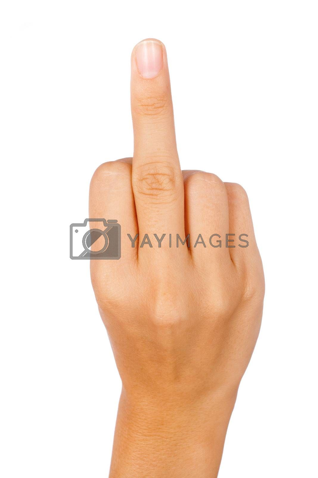 Hand showing a middle finger isolated on white.