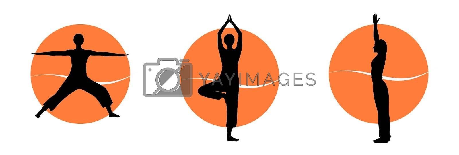 Woman in yoga asana silhouettes over colourfull background. Vector illustration.