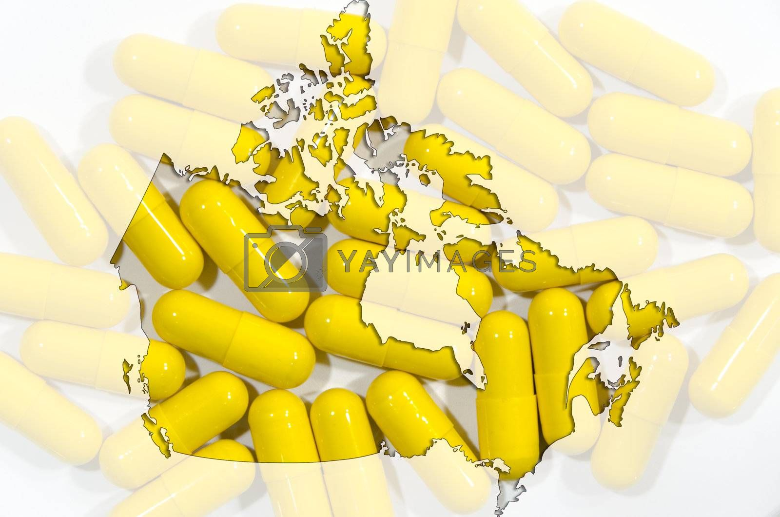 Outline map of Canada with yellow  capsules in background