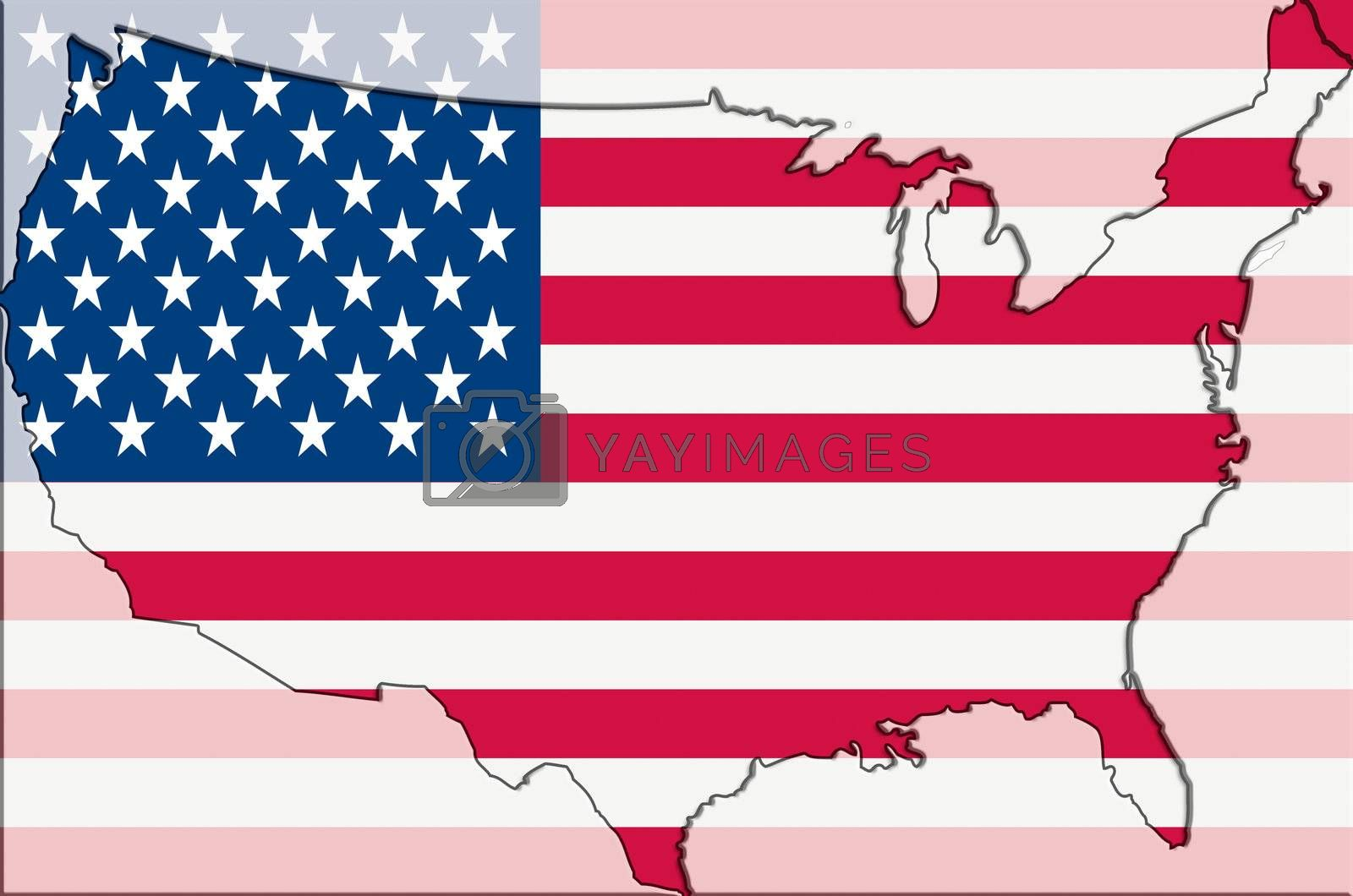 Outline map of USA with cigarettes in background