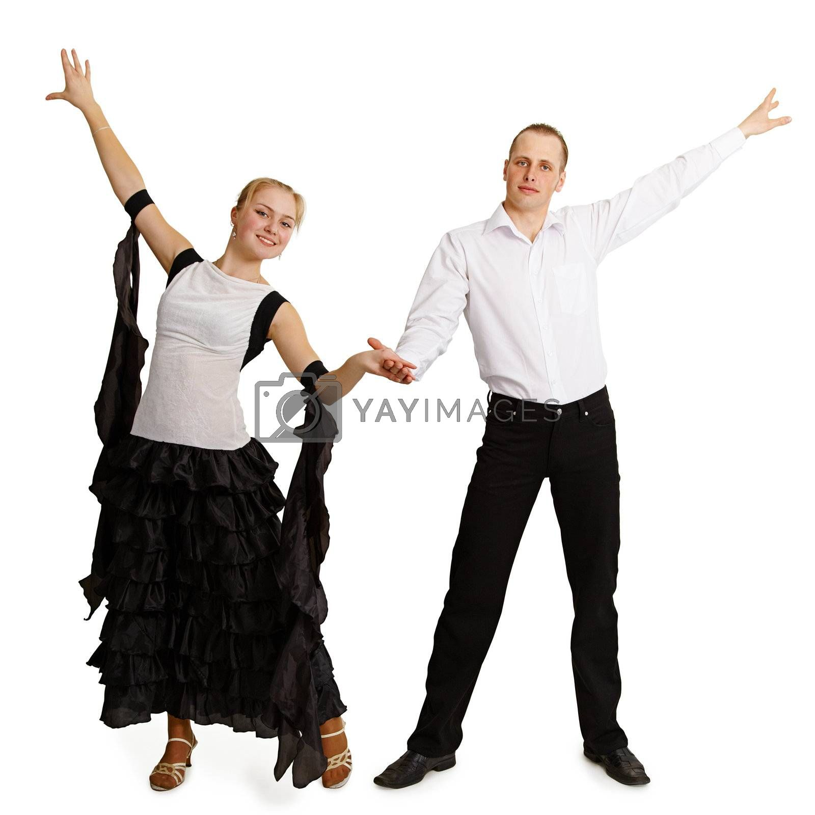 A pair of professional dancers finished dancing isolated on white background