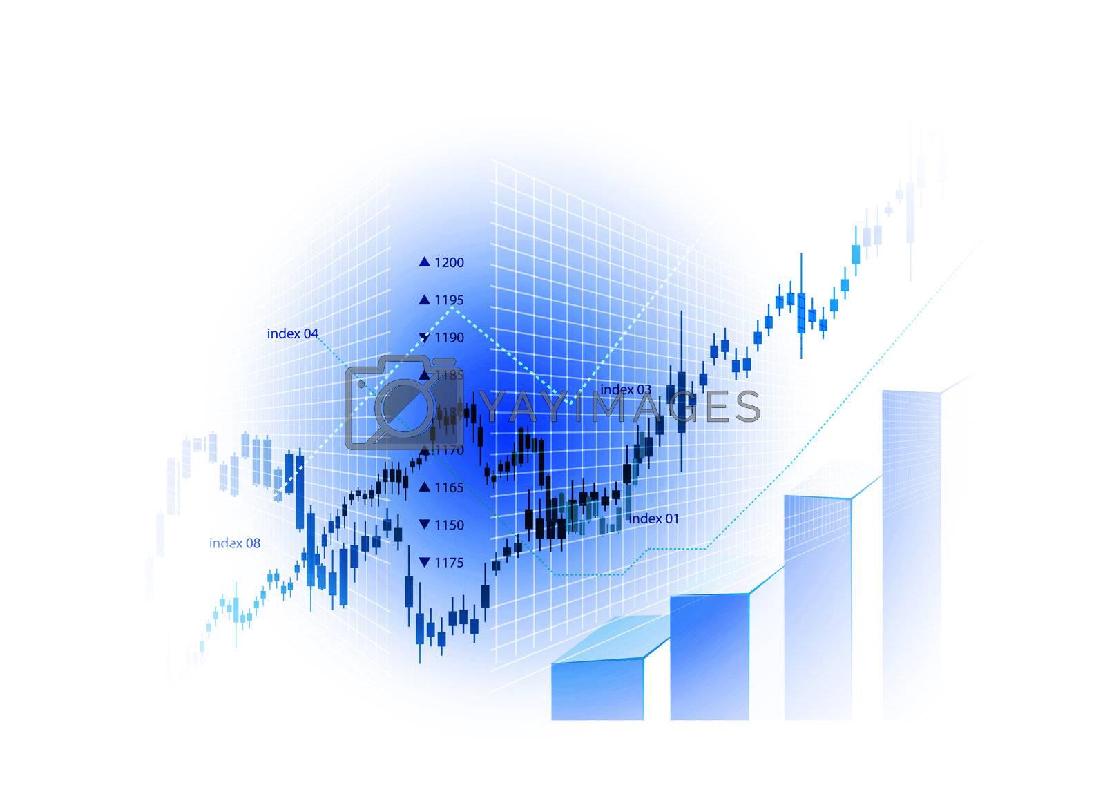 Stock Market Chart illustration on white background