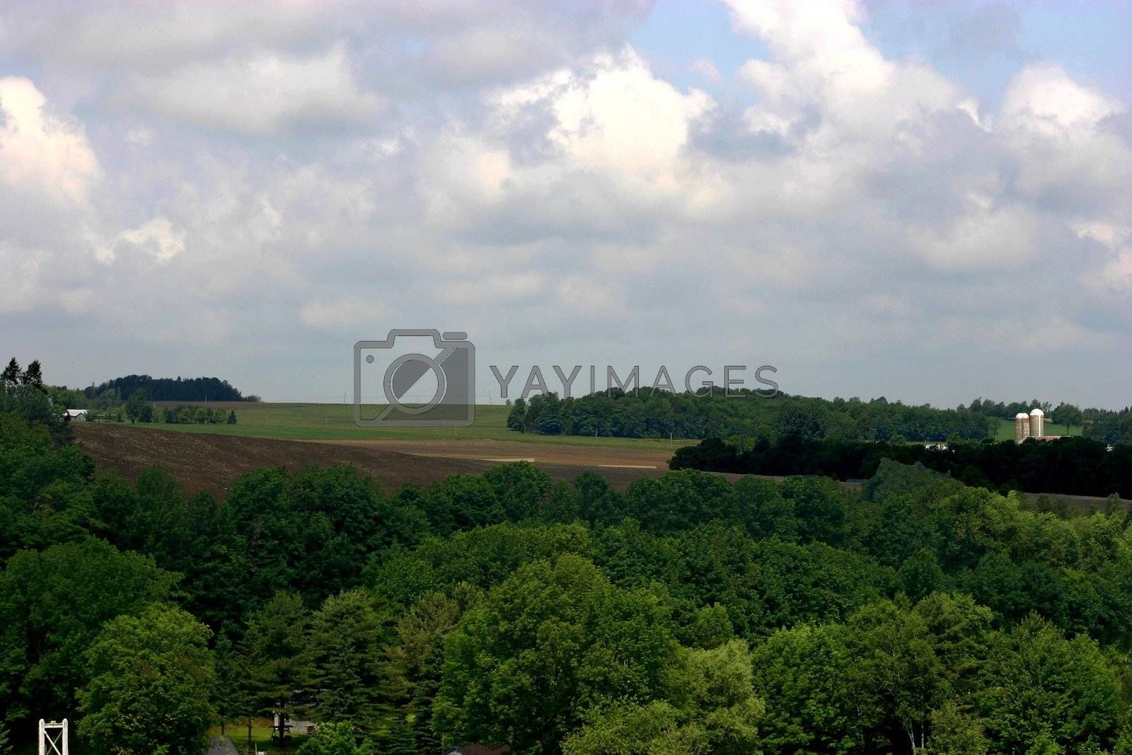 Extended view of Eastern Township farm land