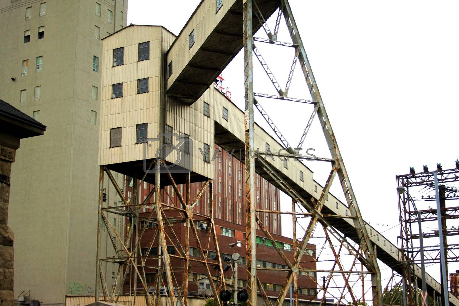 Industrial ramp with pylone at dock side