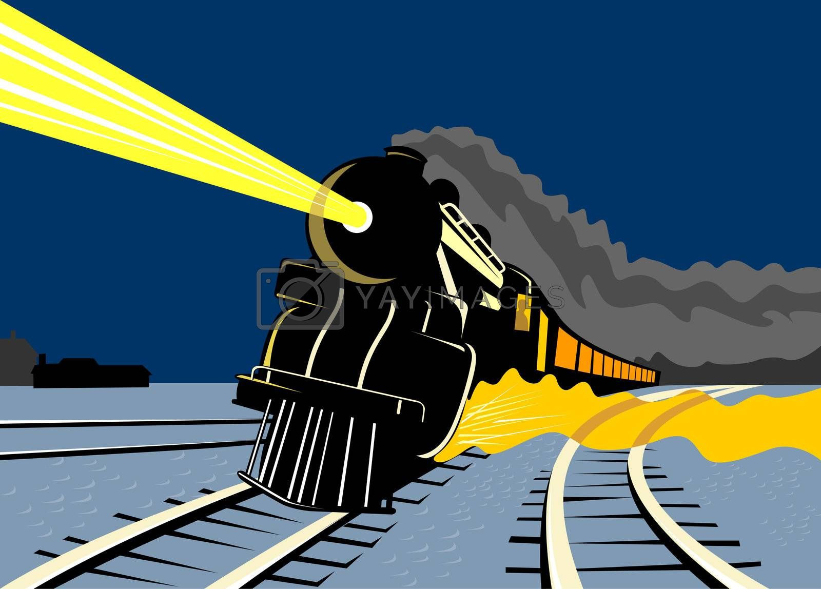 illustration of a steam train locomotive coming up on railroad with headlights done in retro style on isolated background
