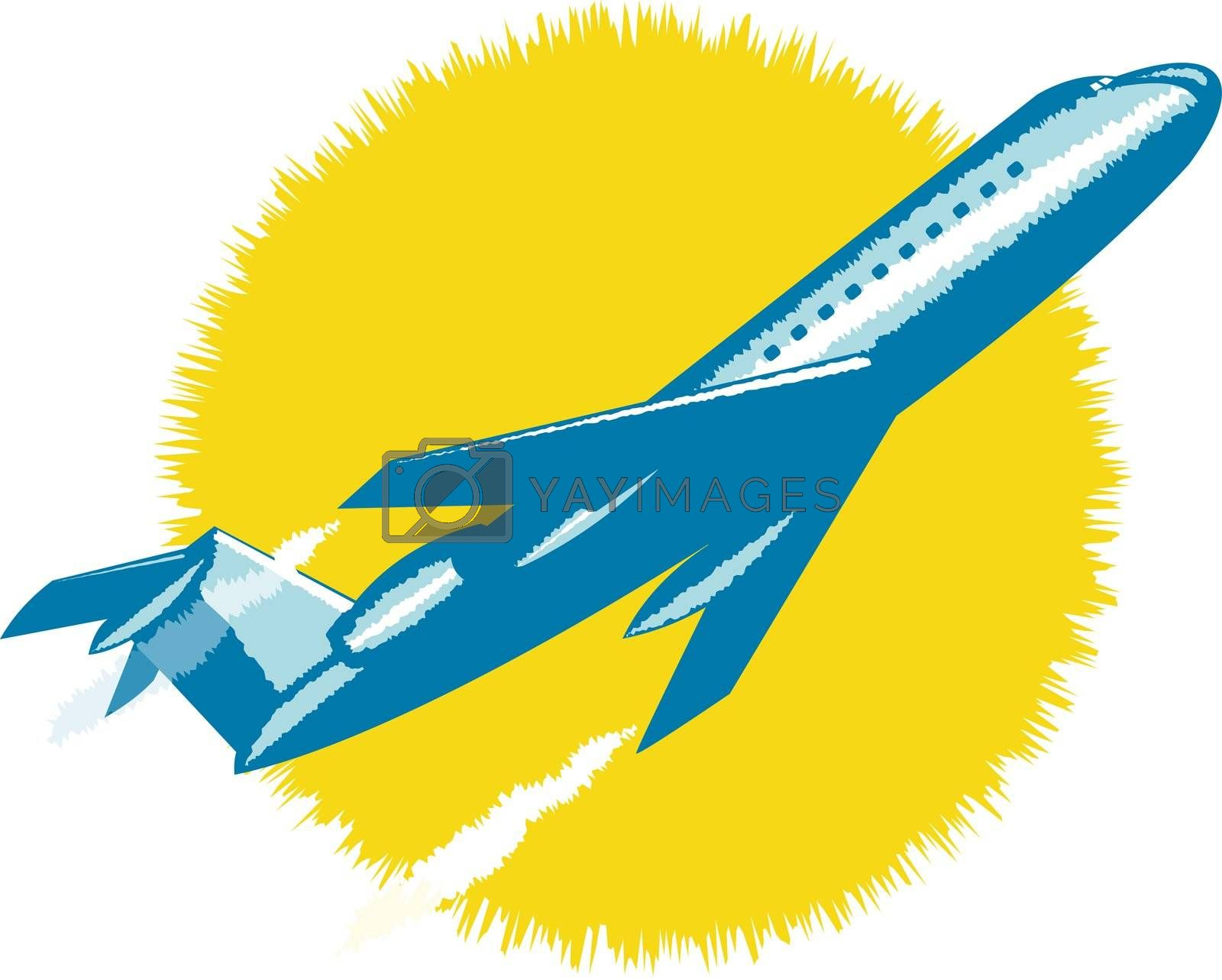 illustration of a commercial jet plane airliner taking off  isolated background