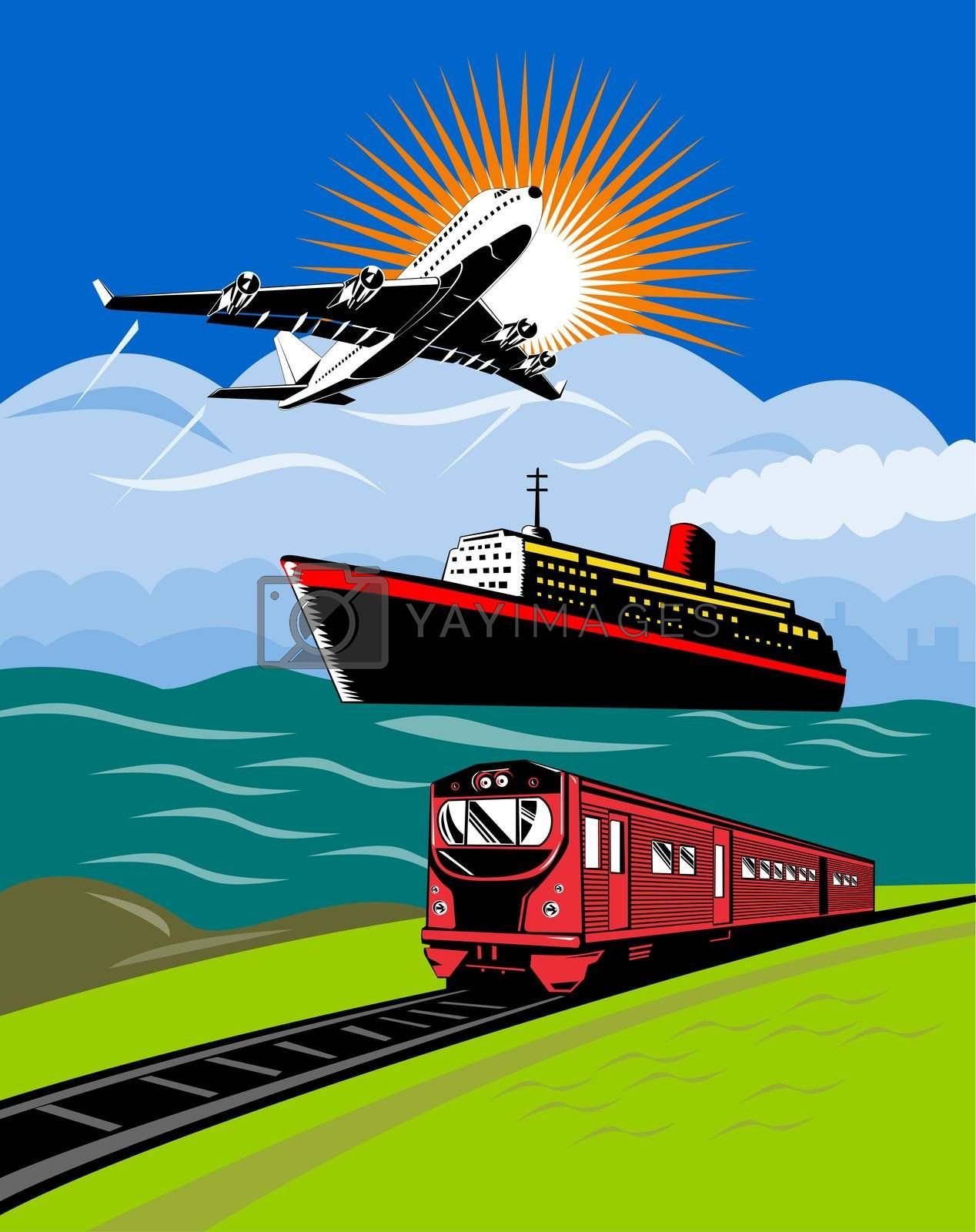 illustration of a commercial jet plane airliner on flight flying taking off with ship and train