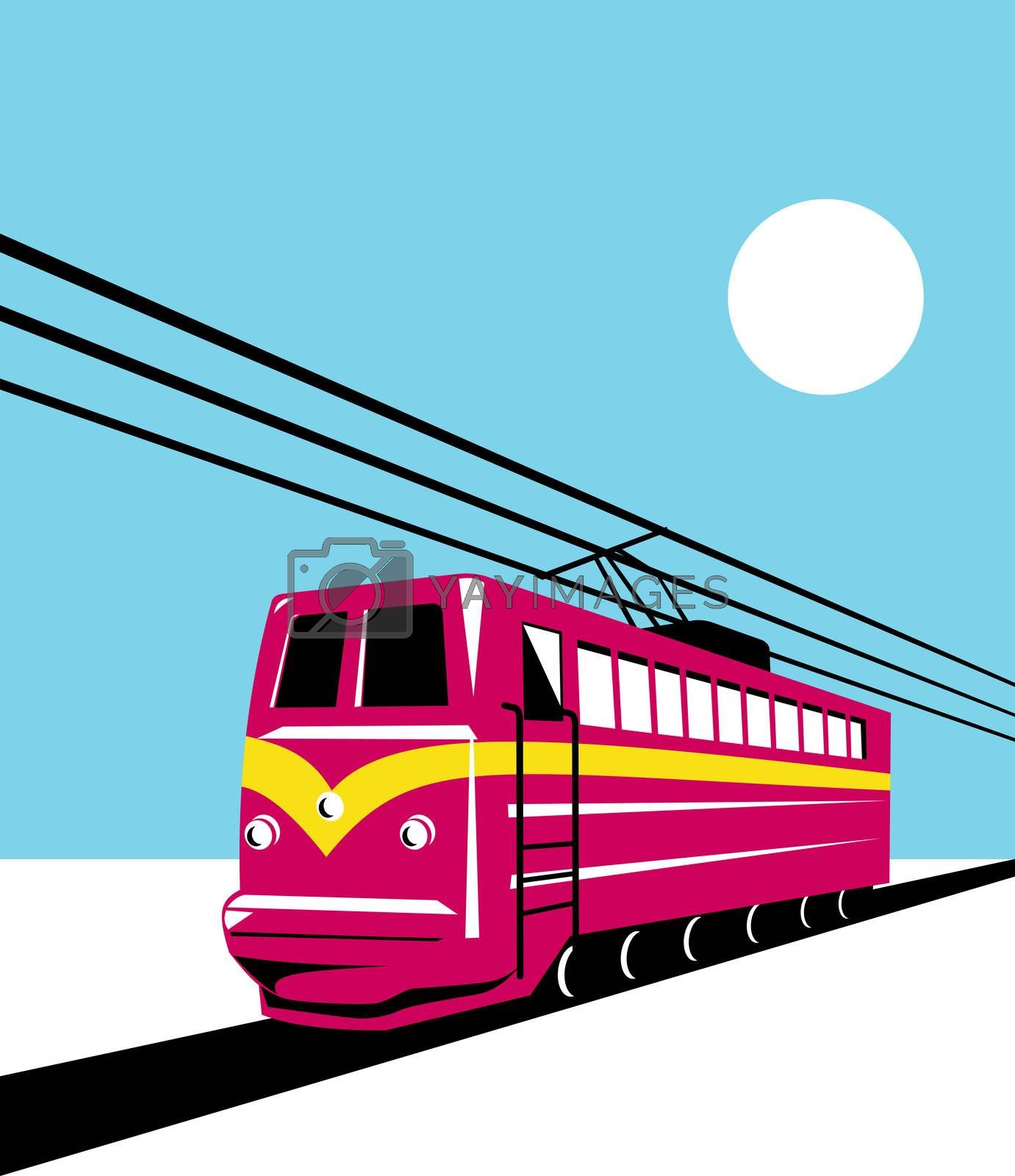 illustration of electric passenger train locomotive coming up on railroad done in retro  style on isolated background