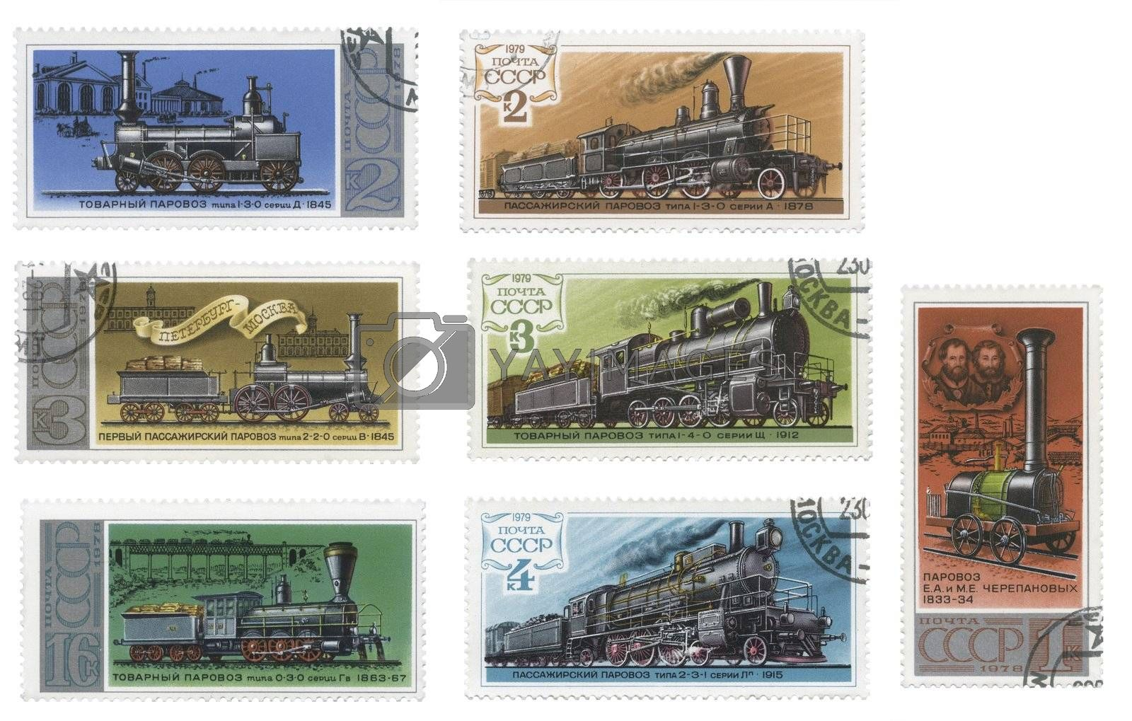 Russian Train Stamps a collection of different designs