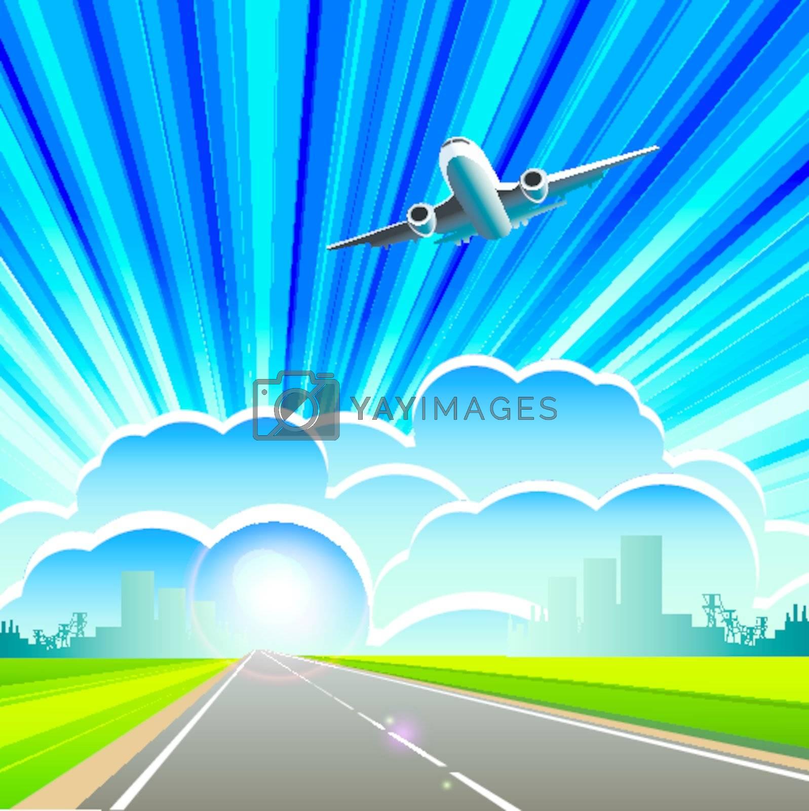 illustration, plane on cloud on background blue sky