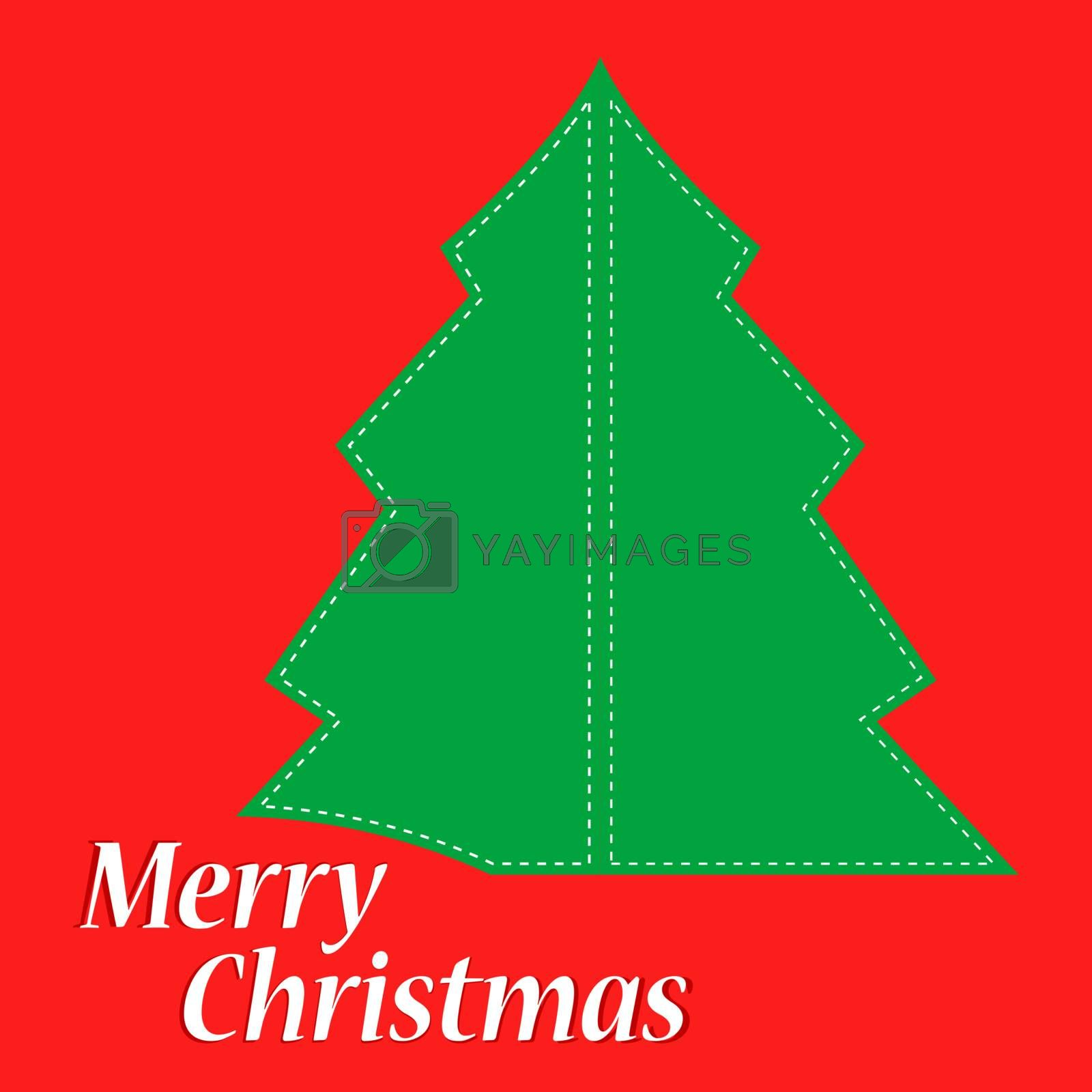 Abstract green christmas tree on red background. Vector holiday card