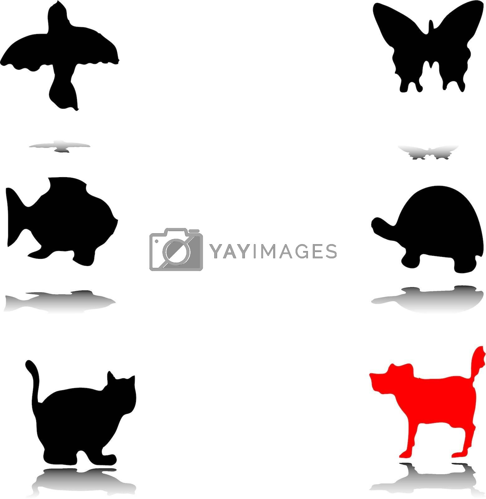 Different animal silhouettes vector eps8 graphic