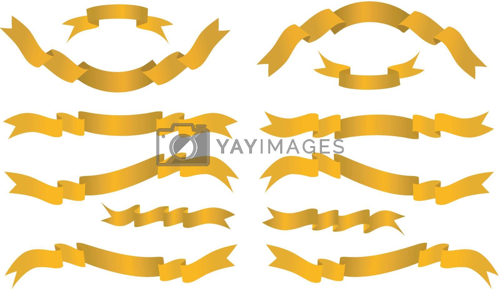 Golden banners. Vector set illustration on white background