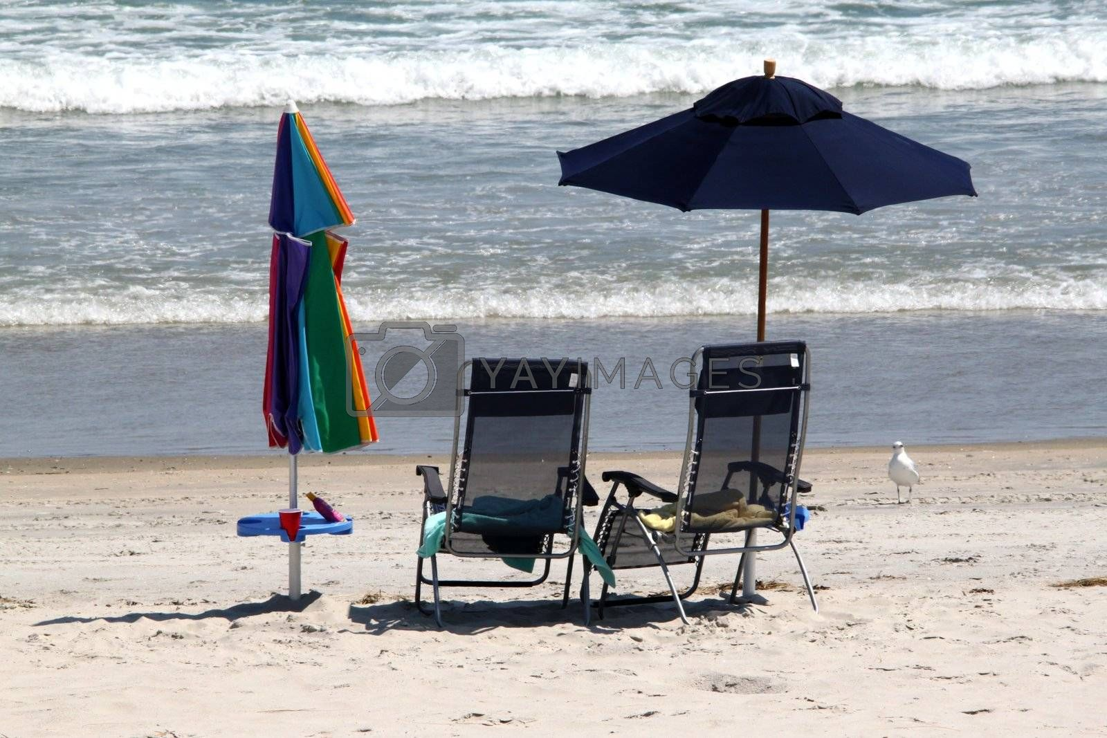 Empty beach chairs on the beach with parasols